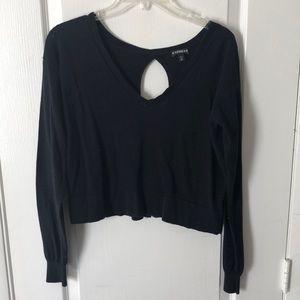 Express black long sleeve crop top